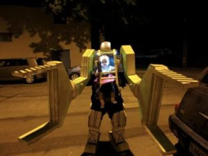 4 My Friend And His Daughter Dressed As A Work Loader From Aliens